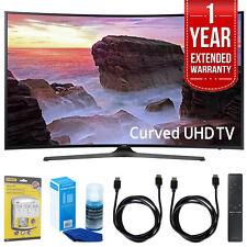"""Samsung Curved 55"""" 4K UHD Smart LED TV (2017 Model) w/ Extended Warranty Bundle"""