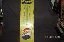 """1965 Vintage """"SAY PEPSI PLEASE""""  Script Logo Tin Thermometer Sign"""