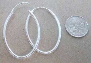 REAL 925 Sterling Silver PLAIN 29mm x 40mm OBLONG Hoops Earrings - TEEN GIRL