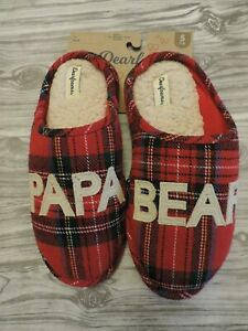 NEW Dearfoam Men's Slippers Papa Bear Size 7 8 Small S Red Plaid