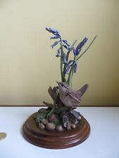 Vintage Country Artists Resin British Bird Wren & Bluebells 1989 CA332 Model a/f