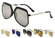 Wholesale 12 Pair Aviator Sunglasses with Flat Top Design with Color Mirror Lens
