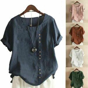 Summer Womens Cotton Linen Loose Blouse Button Tops Ladies T-Shirts Short Sleeve