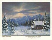 VINTAGE CHRISTMAS CHURCH IN THE WOODS MOUNTAINS SNOW HORSES BUCK TEETER ART CARD