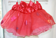 H&M Valeria Red Tulle Satin Floral Skirt Rufffled Girls Size US 2-6 yrs EUC