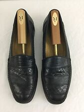 Mezlan Elda Men's Size 12 M Black Croc Lizard Moccasin Loafers