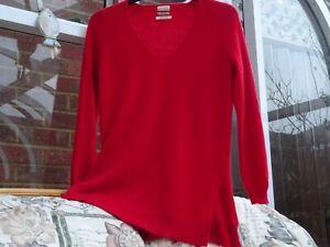 Zara Red 100% Cashmere V Neck Long Jumper with Slits  M
