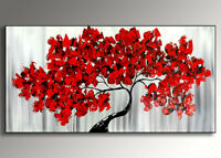 QUADRO MODERNO ASTRATTO   CON TELAIO albero rosso DIPINTO A MANO ABSTRACT