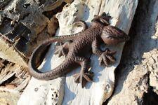 Eidechse Gusseisen antikbraun Salamander Gecko Gartenfigur Dekofigur Gartendeko