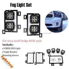 4 Pcs Cree LED Dual Fog Lights With Light Bracket For Dodge RAM 1500 2013-2018