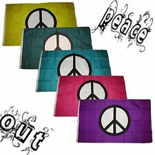 3x5 3'x5' Wholesale Peace Out Set Yellow Green Teal Pink Purple Symbol 5 Flags