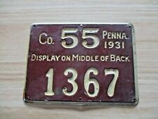 1931 PENNSYLVANIA VINTAGE PENNA. PA HUNTING LICENSE CO. 55