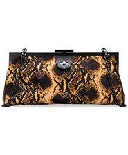 PATRICIA NASH Python Athena Frame Black Clutch Chain Strap Handbag