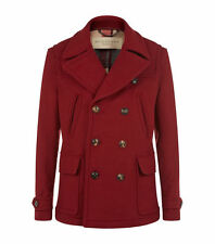 NWT Burberry Brantford Double Breasted Pea Coat Red Maroon Large L Wool England