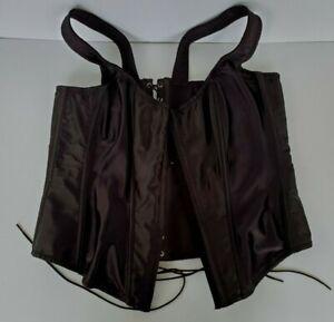 Fredericks of Hollywood Corset Black Satin Boned Lace Up Garters Size 1X  6992