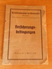 Versicherungsbedingungen Berufskrankenkasse der Werkmeister 1936