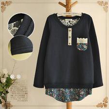 Brand New Japan Mori Style Pockets Floral Shirt Blouse DressTop Size XS