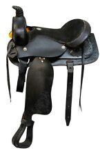 "Buffalo Saddlery ROPER Style Floral Tooled 16"" Western Trail / Pleasure Saddle"