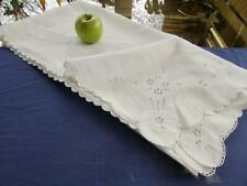 """Antique Madeira Linen 50"""" Bridal Tablecloth Topper Hand Eyelet Embroidery Basket"""