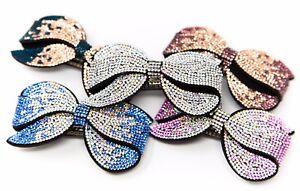 Sparkly Barrette Felt Back Pave Bow Rhinestone Crystal Hair Clip Pin Accessory