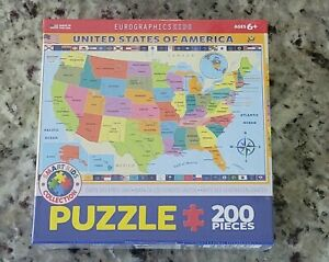 EuroGraphics Map of the United States of America 200 Piece Jigsaw Puzzle