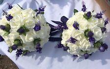 Scottish Wedding 2 Large Brides/Maids  Ivory Roses & Purple Thistles  £65.00