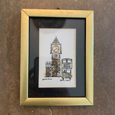 "L Kersh of London Big Ben Clock Horological Collage Art London Signed 4.5"" X 6"""