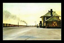 DR JIM STAMPS US RAILROAD WESTBOUND FREIGHT BESIDE THE SEA TOPICAL VIEW POSTCARD