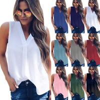 Womens Vest Chiffon V neck Tee T Shirt Cami Blouse Sleeveless Sheer Soft Tops