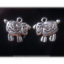 20pcs 16mm Charms Cute Sheep Tibet Silver Pendants Connectors DIY Jewelry A7708