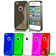 CUSTODIA CASE COVER FOR APPLE IPHONE 4 4S SLIM WAVE S LINE TPU TRASPARENTE GEL