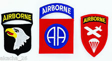 lot de 3 Ecusson Patch US ARMY AIRBORNE USA  Armée paratrooper ww2 wwII insigne