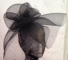 black fascinator millinery burlesque wedding hat hair piece ascot race bridal