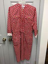 Vintage Leslie Fay Teacher Size 12 Red Polkadots Secretary Church Dress Women's