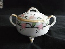 VINTAGE NIPPON FOOTED SUGAR BOWL w/ PINK FLOWERS - M INSIDE WREATH - GREEN MARK