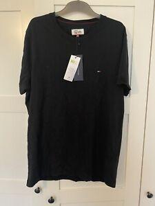 Mens Black Tommy Hilfiger Denim Black Round T Shirt BNWT Size XL