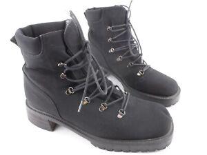 Stuart Weitzman Black Goretex Combat D-Ring Lace Up Block Heel Boots Womens 7.5B