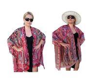 Bubbles Bay Silk Kimono Robe, Bohemian Plus Size Kimono Jacket, Boho Beachwear