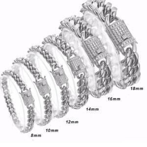 "New CZ Mens Womens Miami Cuban Chain Heavy Silver Stainless Steel Bracelet 7-11"""