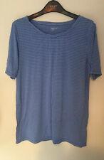 Gap Medium Blue And White Stripe Plain Tee Tshirt Modal Soft Touch