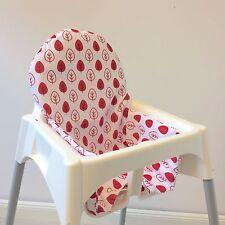 """Sitzkissen """"Blätter/rot"""" für Ikea Antilope Hochstuhl, u.v.m., 2-seitig"""