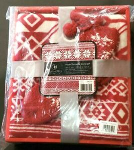 Great Hotels Collection Plush Throw and Sock Set Fair Isle Red NEW IN BOX