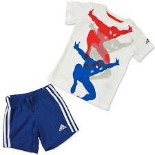 Adidas Petit Enfants Spiderman Été Set T-shirt et Shorts Rouge Bleu Blanc 80