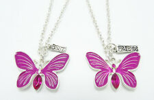 New Butterfly Best Friend Necklace Set with Pink Rhinestones NWT #N2565