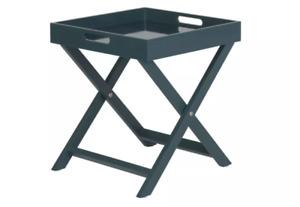 Habitat Oken Folding Side Table Square Tray Foldable Petrol Blue Spare Occasion