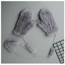 Real Grey Rex Rabbit Fur Winter Warm Gloves Mittens With Hanging String