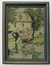 Vintage 1920s La France Jacquard Picture Framed Woven Wall Art of Covered Bridge