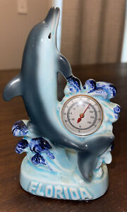 Vintage 50s G F Blue Dolphin Thermometer Figurine Made in Japan