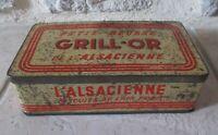 Ancienne boite métal biscuits Petit Beurre Grill-Or l'Alsacienne France tôle