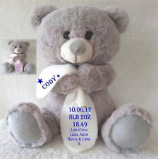PERSONALISED GREY TEDDY BEAR WITH BLANKET NEW BORN CHRISTENING